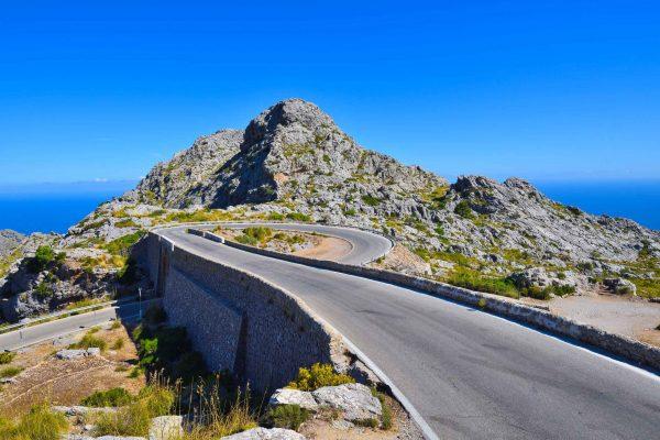 Espectacular carretera en Mallorca,, vista del nudo de la corbata, carretera de Sa Calobra.